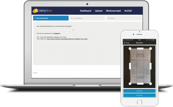 Upload invoices and expenses via TriFact365 portal, e-mail or smartphone app.