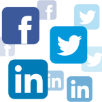 Facebook, twitter and linkedin icons