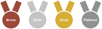 Bronze, silver, gold and platinum medals