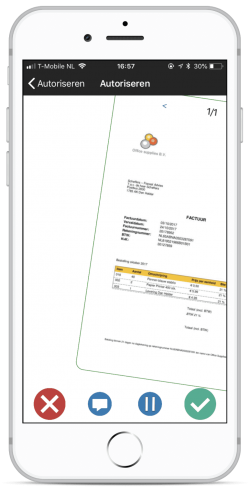Mobile app with swipe function for invoice approval, authorisation and procuring.