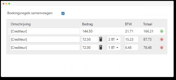 Schermvoorbeeld TriFact365 software met automatische regelherkenning waarbij je boekingsregels kunt samenvoegen.