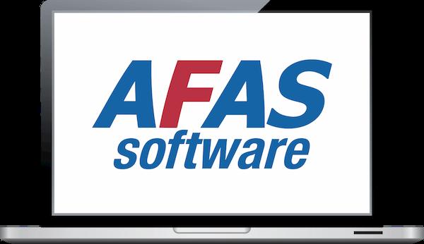 Laptop met AFAS Software logo voor partnership met TriFact365 Scan en Herken