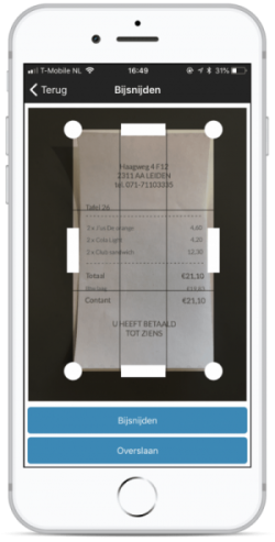 Screenshot van uploaden mobiele app TriFact365.