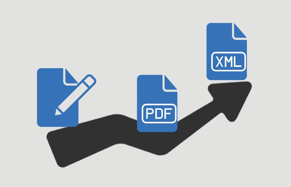 pdf en xml iconen met pijl