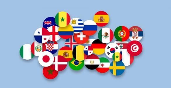wereldkaart met vlaggen