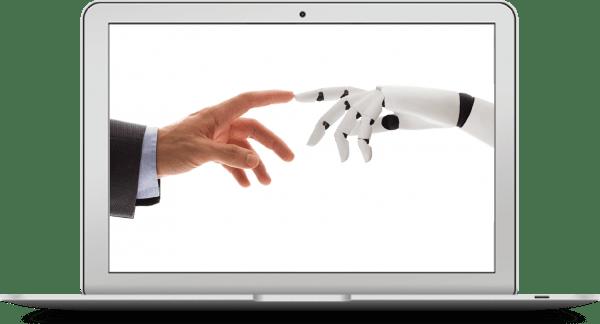 Mensenvinger en robotvinger raken elkaar aan voor accountancy software en robotic process automation.