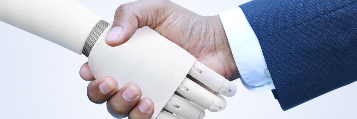 robot en mens geven elkaar een hand