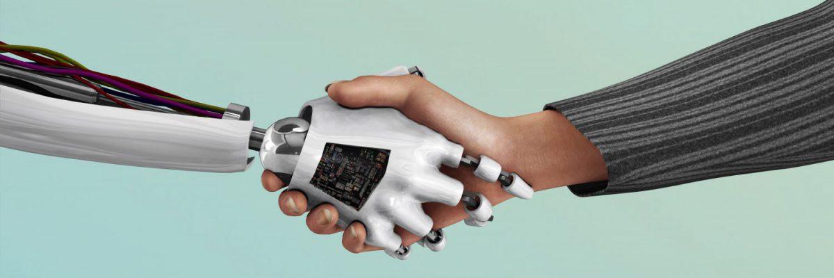robot geeft mens een hand