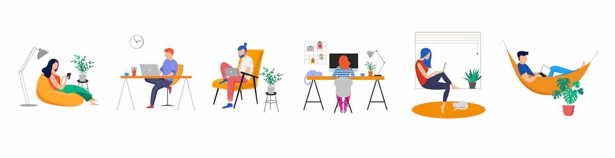 Mensen thuis aan het werk op hun laptop of achter hun computer.
