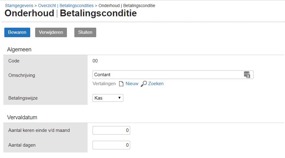 Betalingsconditie voor inboeken voor procuratie Exact Online