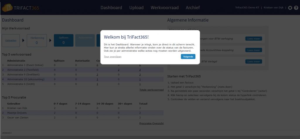 Instructietour van het TriFact365 dashboard