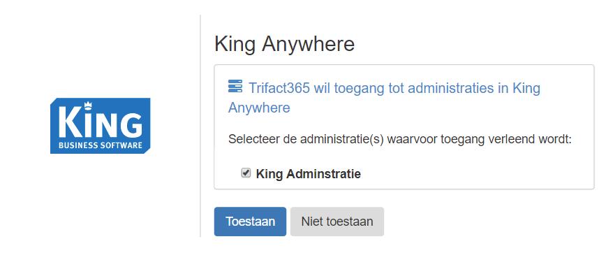 TriFact365 wil toegang tot administraties in King Anywhere: Toestaan.