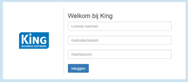 Login screen King Business Software