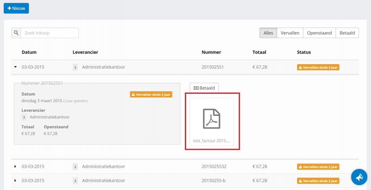 PDF van factuur in SnelStart