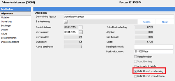 TriFact365 AFAS blocked for payment settings checked