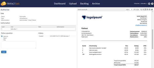TriFact365 authorise invoice screen