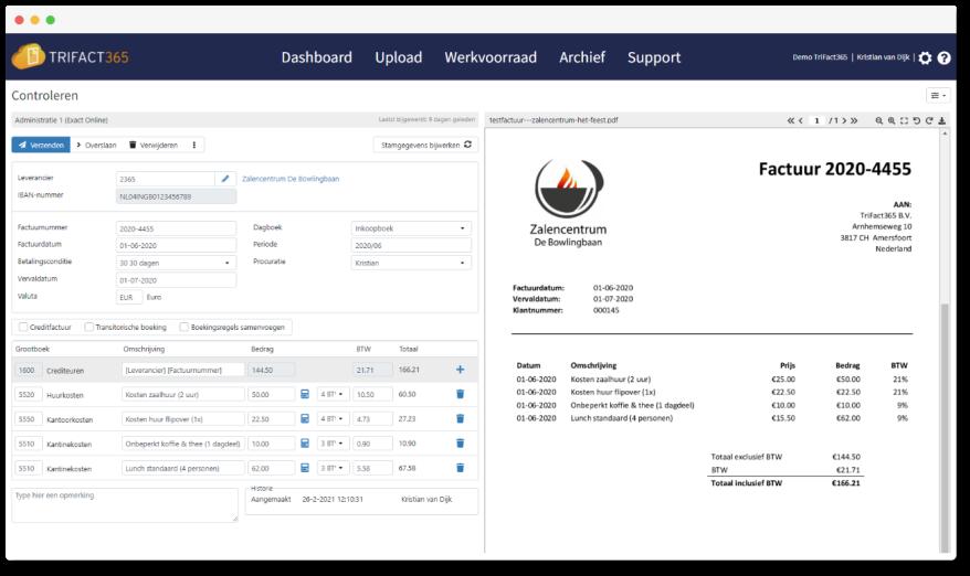 TriFact365 Scan en Herken controlescherm