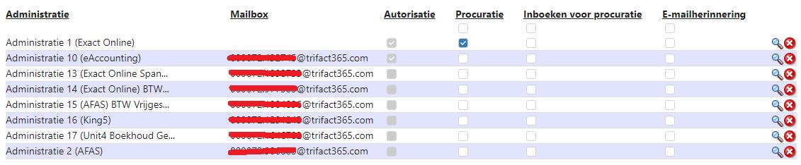 Lijst met administraties in TriFact365