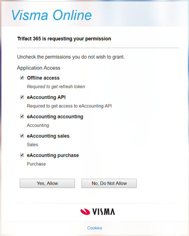 Visma Online: TriFact365 is requesting your permission