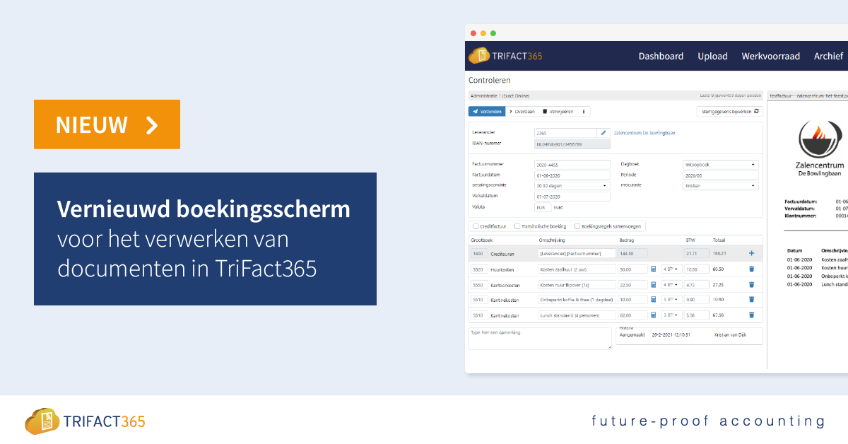 TriFact365 nieuwe boekingsscherm als voorbeeld bij de 15 tips om meer uit TriFact365 te halen.