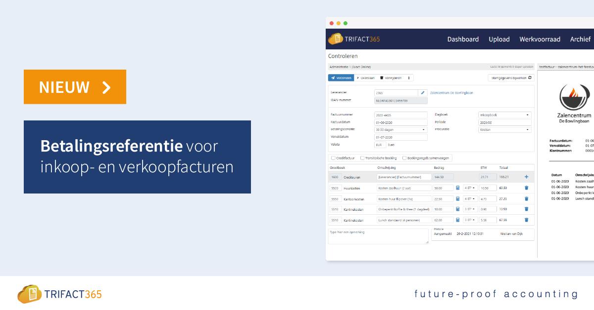 Personaliseer het controlscherm met betalingsreferentie in TriFact365.
