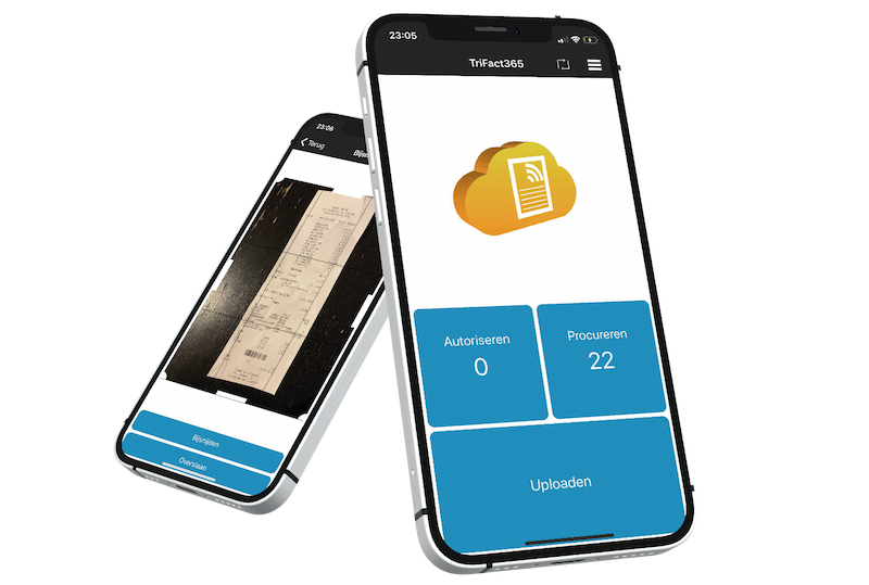 TriFact365 mobile app as a receipt scanner that extracts data and transforms all receipts automatically into journal entries.