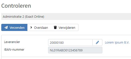Voorbeeld van controle IBAN nummer met de digitale factuurverwerking van TriFact365 software.