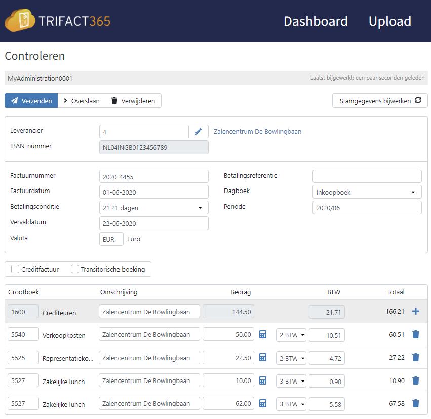 Agrandissement de l'écran de contrôle de TriFact365 pour la reconnaissance des règles en temps réel.