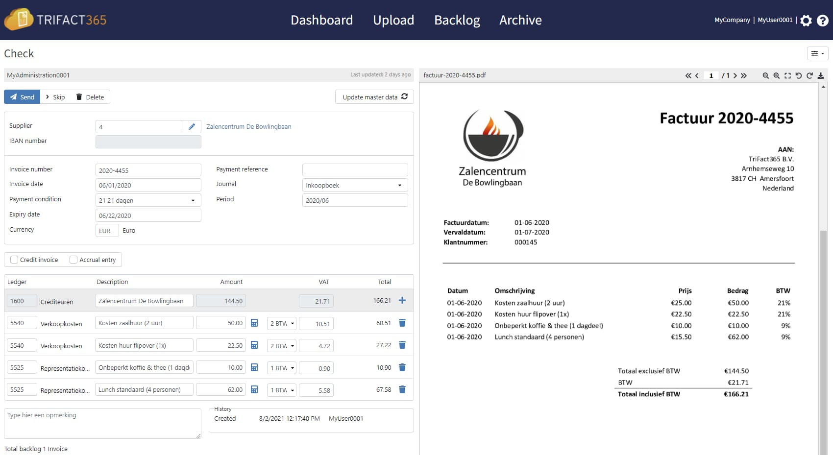 TriFact365 English invoice scanning software with an invoice validation.